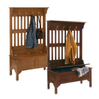 Good God, I need this in my life!  Home Styles Hall Tree and Storage Bench - BedBathandBeyond.com