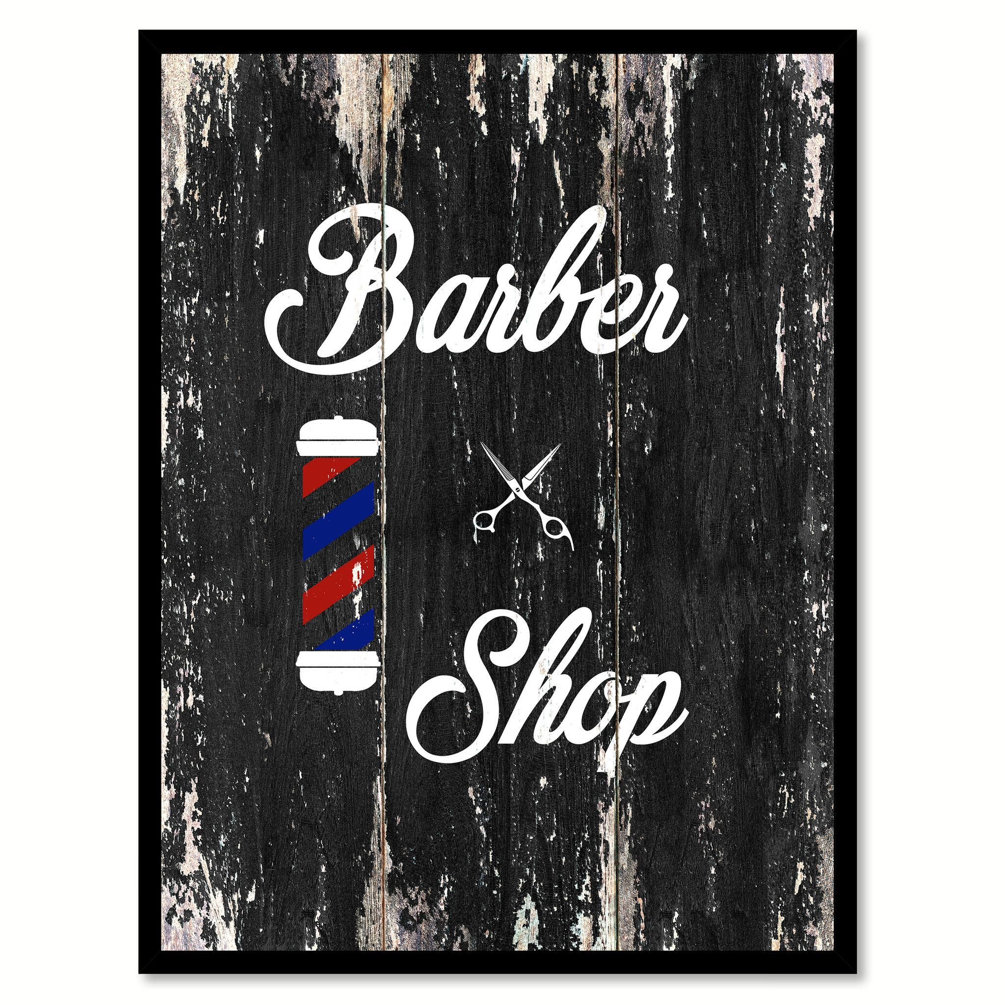 Barber shop pole distressed wall decal vintage style wall decor ebay - Barber Shop 2 Quote Saying Canvas Print With Picture Frame Home Decor Wall Art
