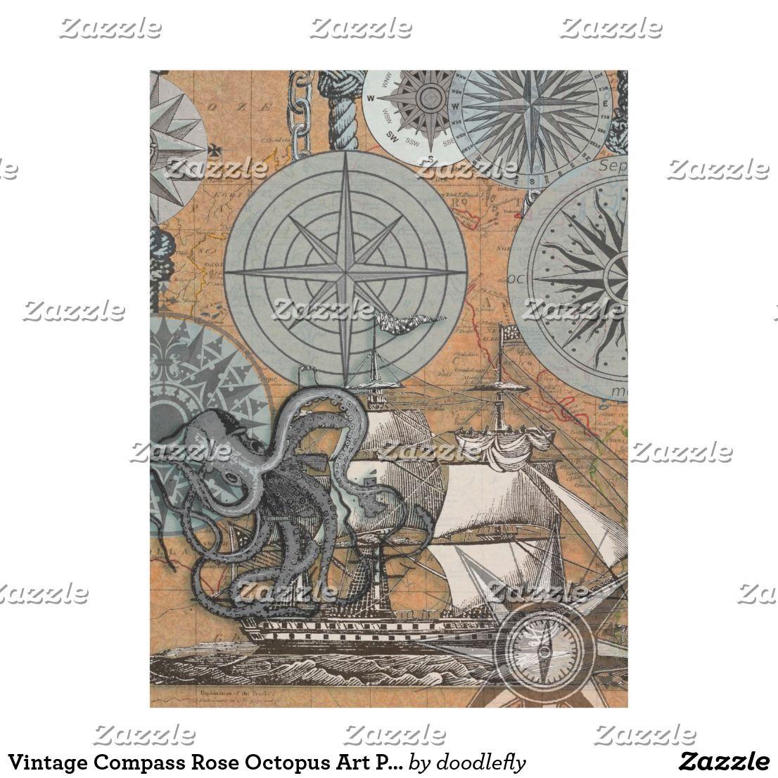 Vintage Compass Rose Octopus Art Print Drawing Fleece