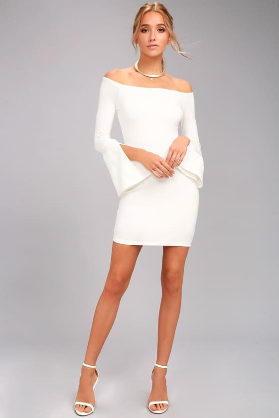 044318bd36e Show off your style with the Marseille White Off-the-Shoulder Long Sleeve  Bodycon Dress! Stretchy knit shapes a darted