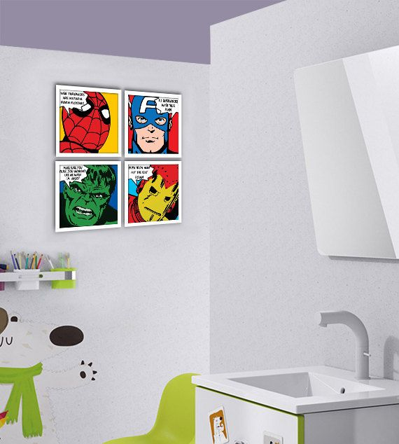 Items Similar To Bathroom Decor, Custom Order For Nancy Mireles   Superheroes  Bathroom Rules, Set Of 4 Prints, X Giclee Prints On Etsy