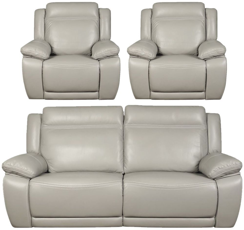 Cheshire Light Grey Leather 3 1 1 Recliner Sofa Suite Reclining Sofa Grey Leather Recliner