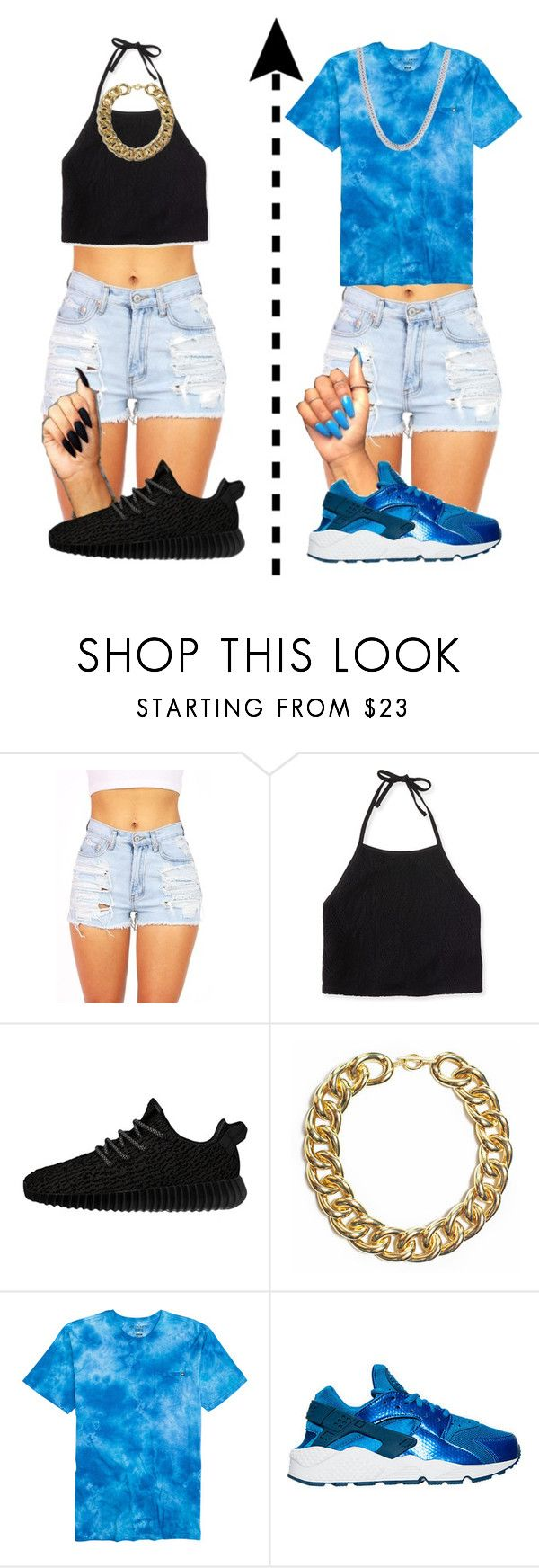 """""""Comment) black or blue? 😜"""" by miss-hollyhood ❤ liked on Polyvore featuring Aéropostale, adidas Originals and NIKE"""
