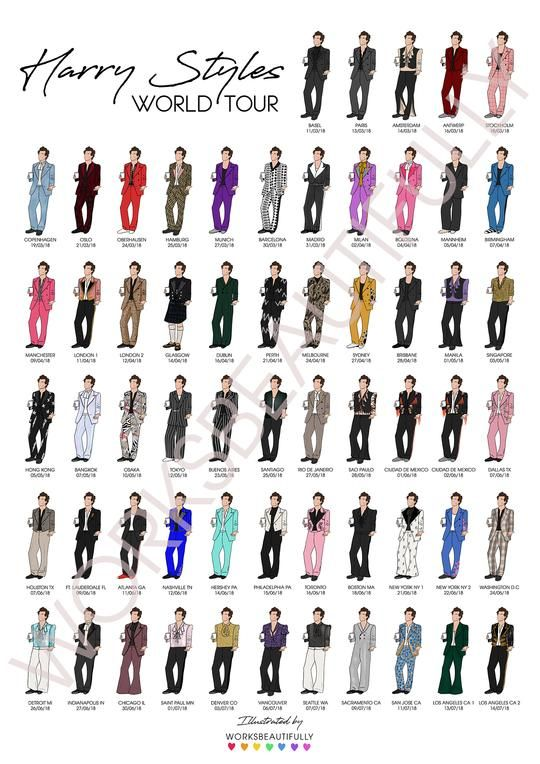 harry styles suits illustration poster