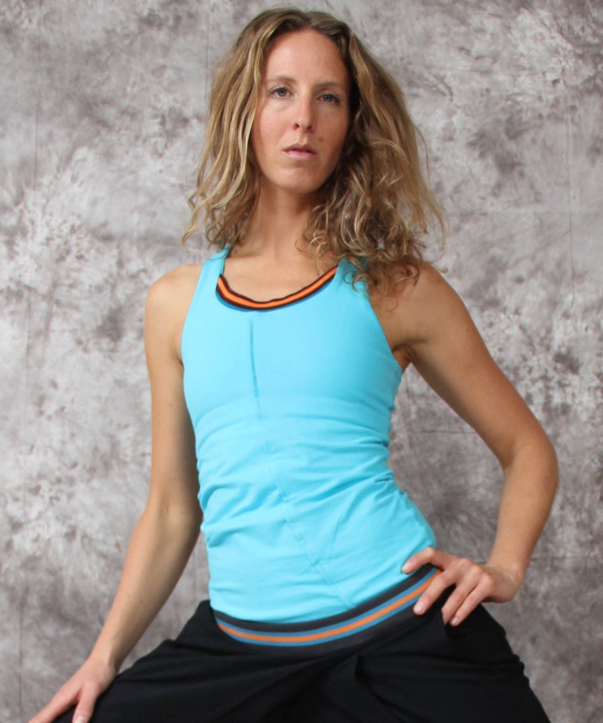 Omora Blue Racerback Organic Zeugma Cotton Yoga Top