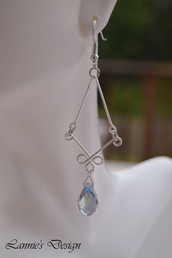 Lavender Celtic Teardrop Earrings Free Shipping by LanniesDesign