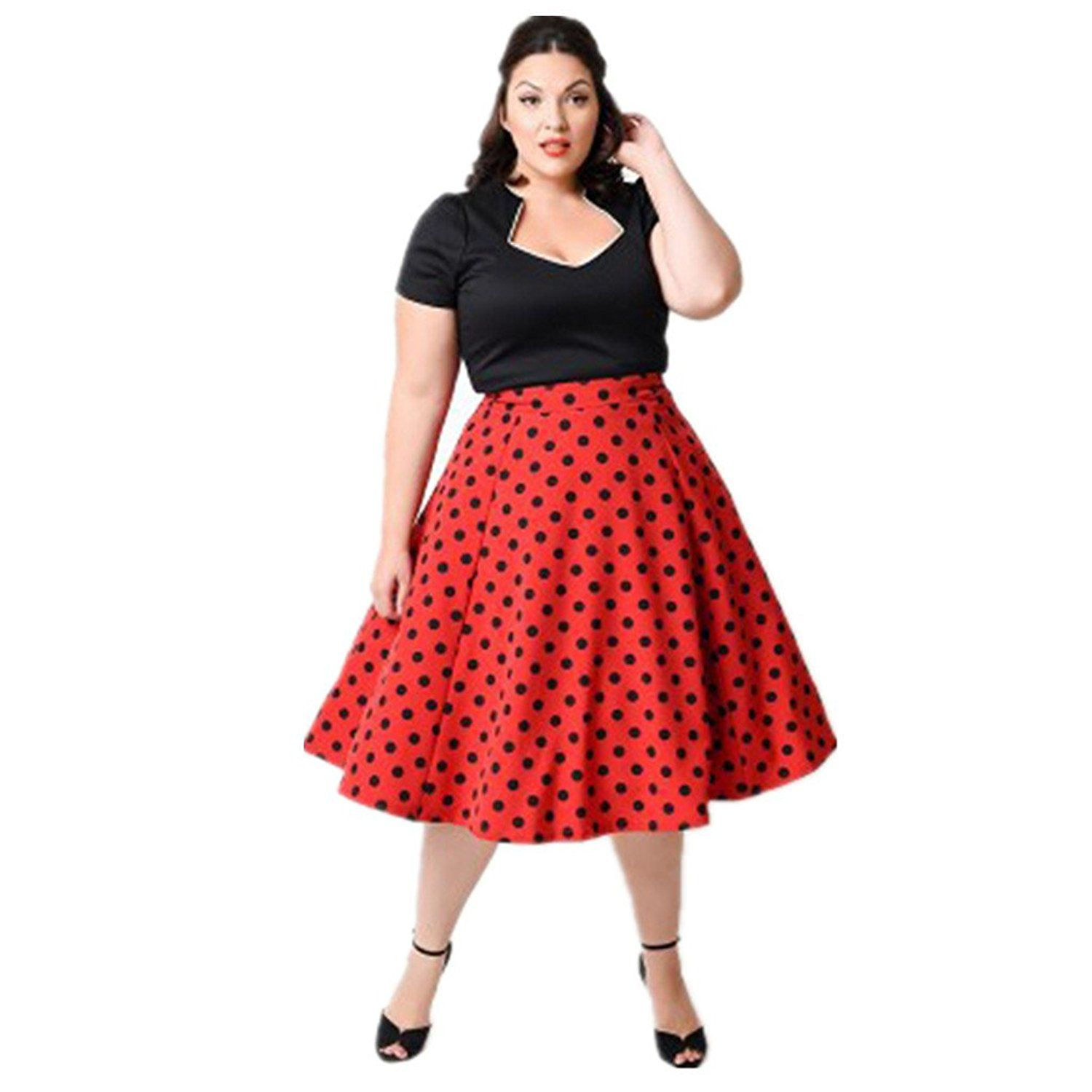 Plus Size 50s Vintage Classic Rockabilly Swing Dress (3XL, Red) at ...