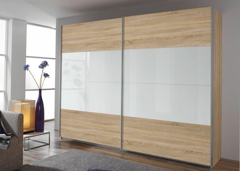 Schwebetürenschrank Quadra 136,0 cm Eiche Sonoma mit Glas Weiß 8576 - wohnzimmer schwarz weiss holz