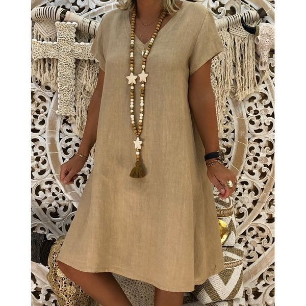 Fanbty Women Vintage Linen Dress Summer Shirt Dress Short Sleeve Solid Casual Loose Party Beach Dress Vestidos Plus Size Size S Color 01 khaki #shortsleevedressshirts
