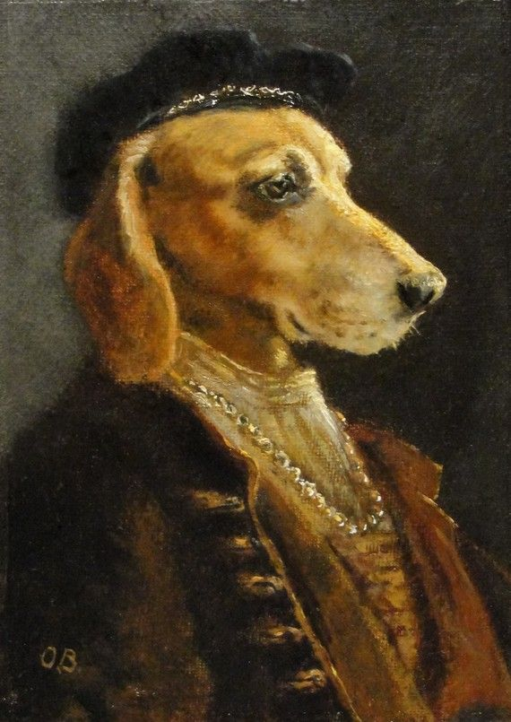 Renaissance Art - Prince of Orange - by Olivia Beaumont on Etsy Dog dressed up as an artist