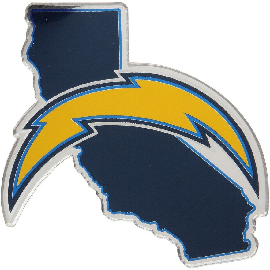 Los Angeles Chargers State Shape Acrylic Metallic Auto Emblem San Diego Chargers Chargers Car Emblem
