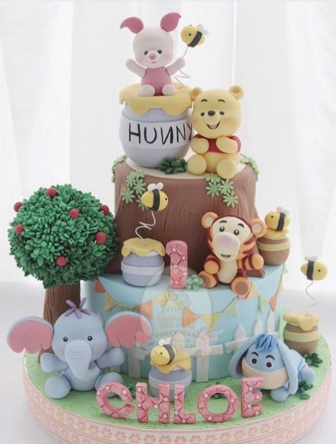 Admirable Winnie The Pooh Cake With Images Baby Birthday Cakes Winnie Funny Birthday Cards Online Amentibdeldamsfinfo