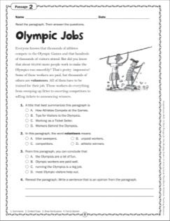 Olympic Jobs Grade 4 Close Reading Passage Close Reading