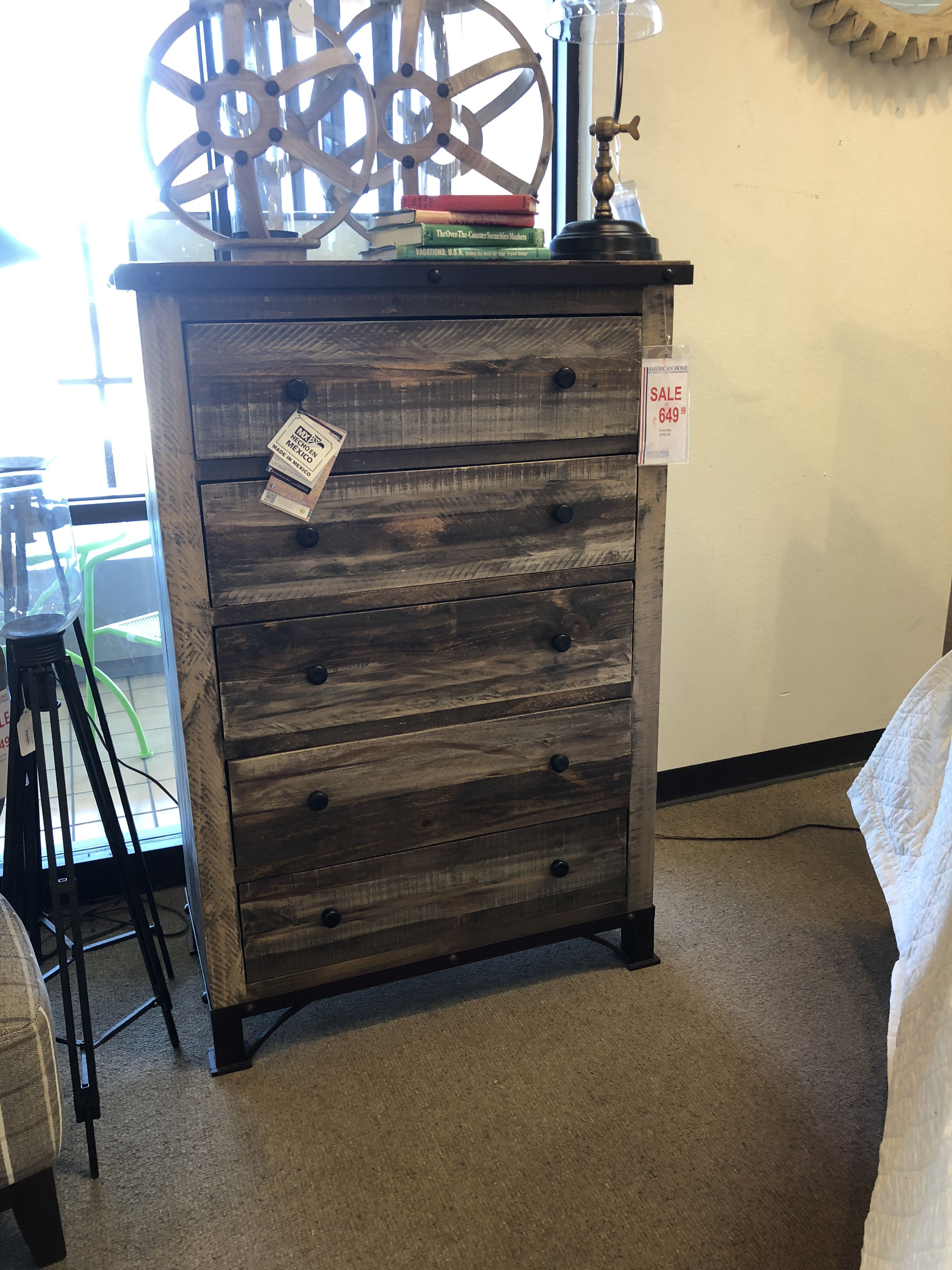 Bedroom Set 3 Pine Solid Wood With Metal Accent American
