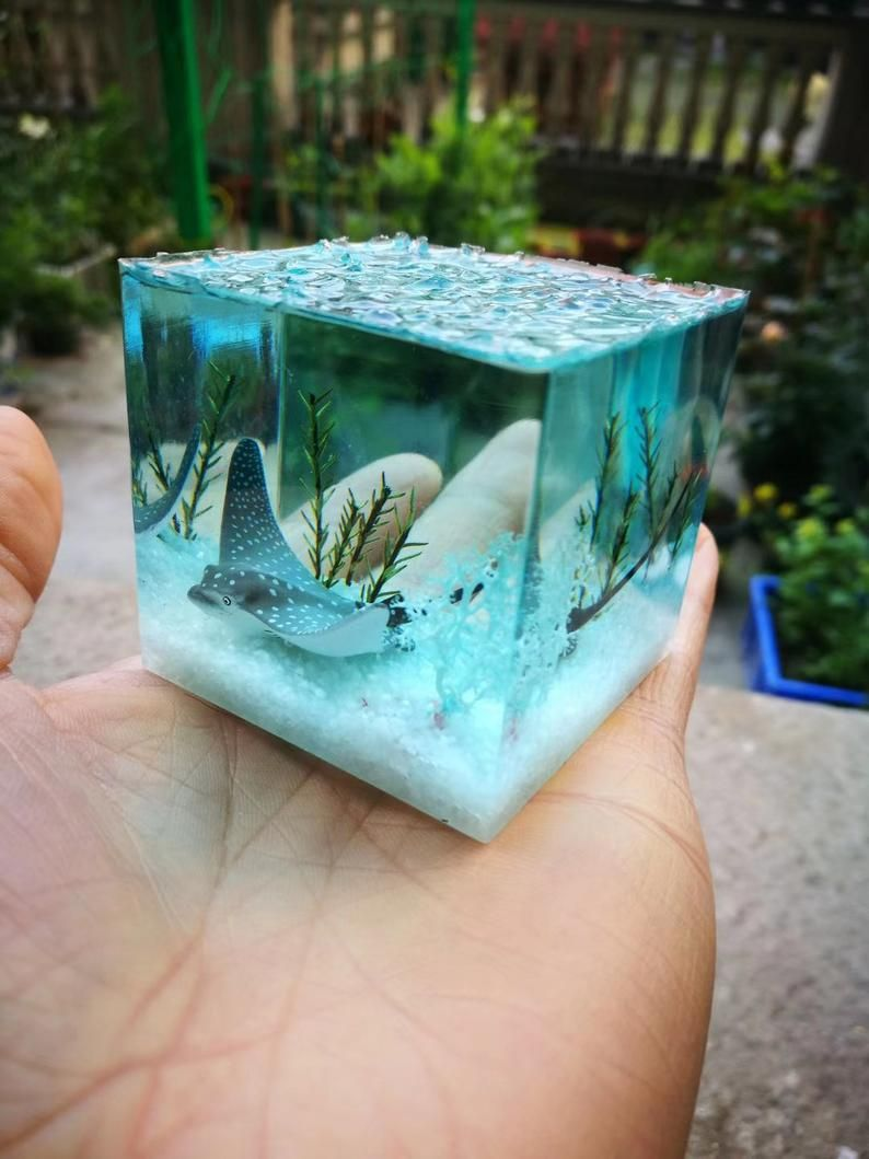 Photo of Whale Resin Paperweight | Ocean Resin Diorama| Resin Table Decor | Resin Crystal Paperweight | Resin Cube