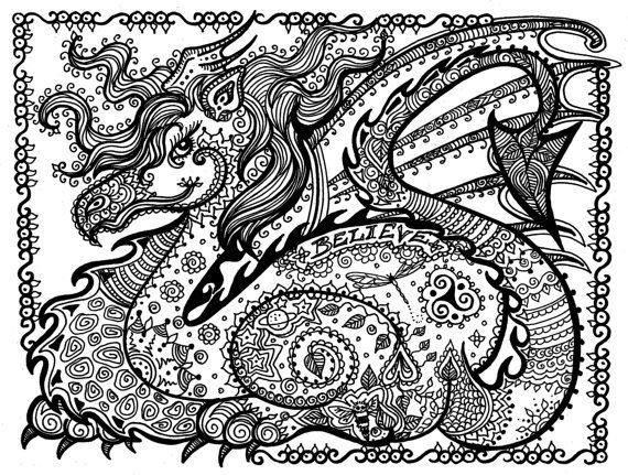 Printable Coloring Page Dragon Instant Download Pay And Color Right