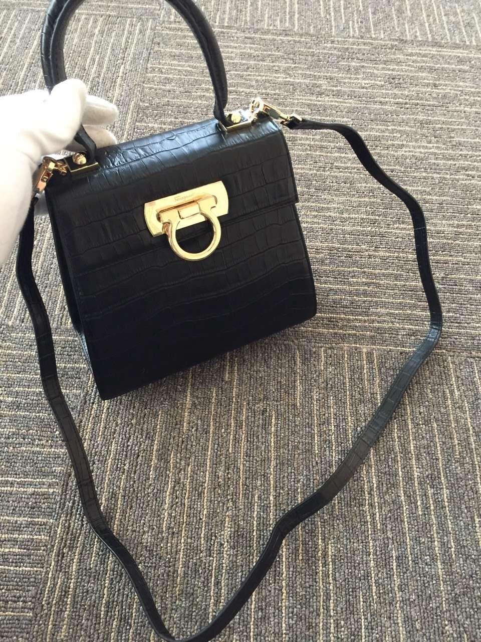 93c4c62a9c Ferragamo Small Clafskin Crocodile Pattern Katia Satchel Top Handle Bag  Black