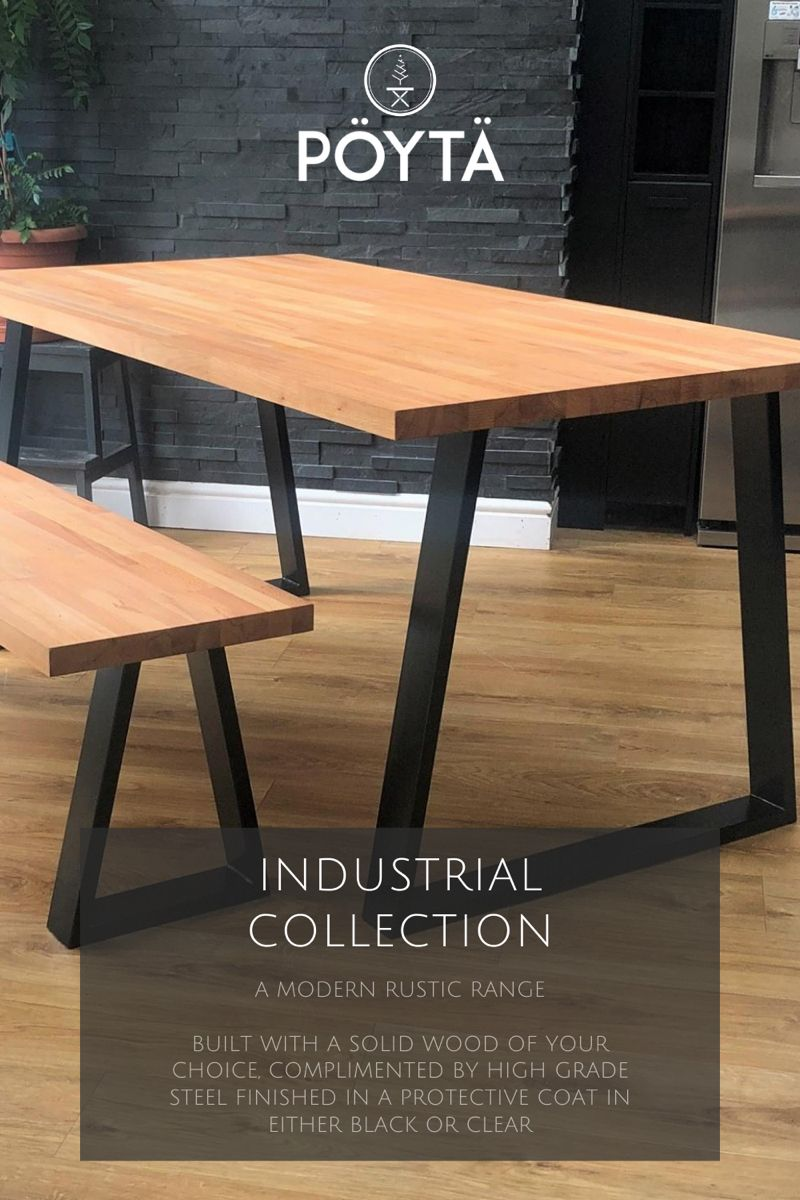 Pictured: Cairo Beech Dining Table. The Industrial Collection is a range of Solid Wood Dining tables ranging from Ash, Beech, Oak or Walnut with striking Black or Clear High Grade Steel Legs.   #home #decor #interior #kitchen #dining #diningroom #diningtablewithchairs #diningroomideas #diningroomdecor #diningroomtable #diningtabledecor #diningtable #solidwood #solidoakdiningtable #solidwooddiningtable #solidwoodfurniture #kitchenideas