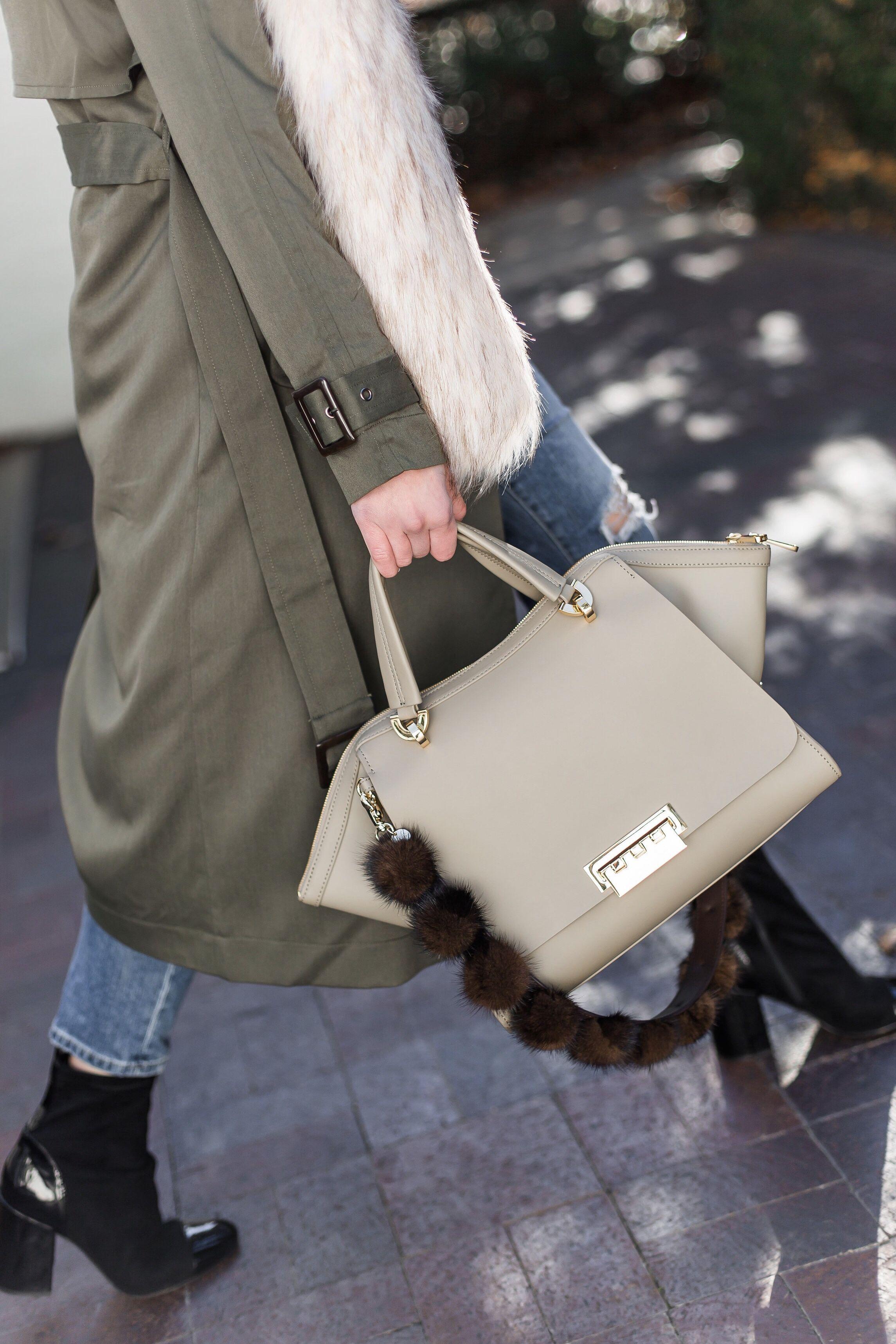 87490c01067 Dallas fashion blogger carrying Zac Posen neutral satchel