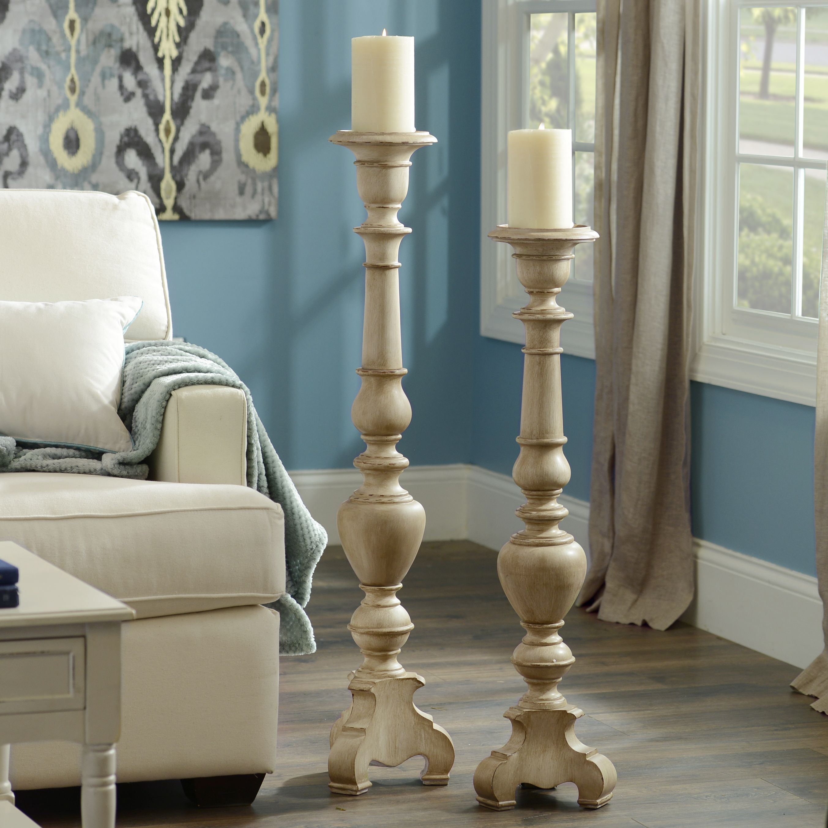 Add Tall Floor Candle Holders To Your Home For A Unique Look These Antique Wooden Candle