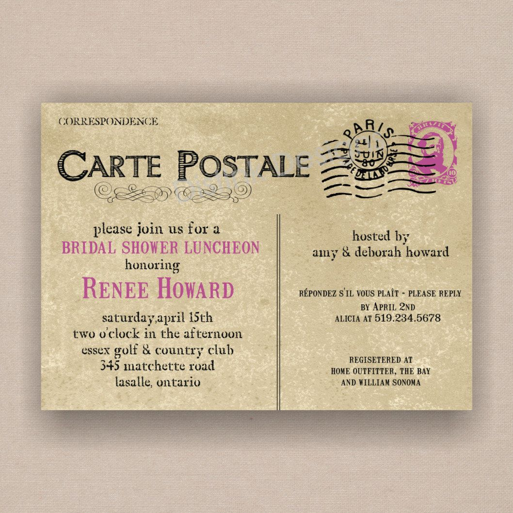 Paris French Postcard Bridal Or Baby Shower Invitation  Printable