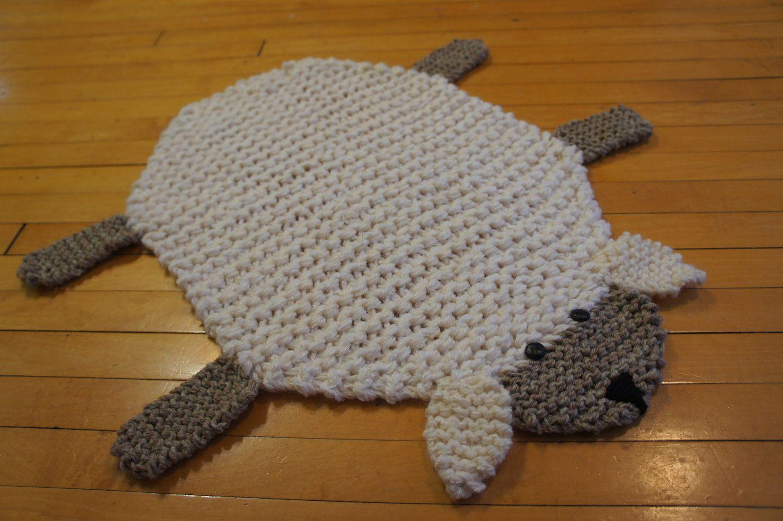 Flat sheep rug mat blanket wolverineknits via etsy i for Tejidos de alfombras