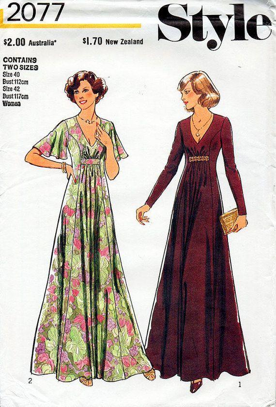 1970s Boho Maxi Dress Pattern Style 2077 Vintage Sewing Pattern V ...