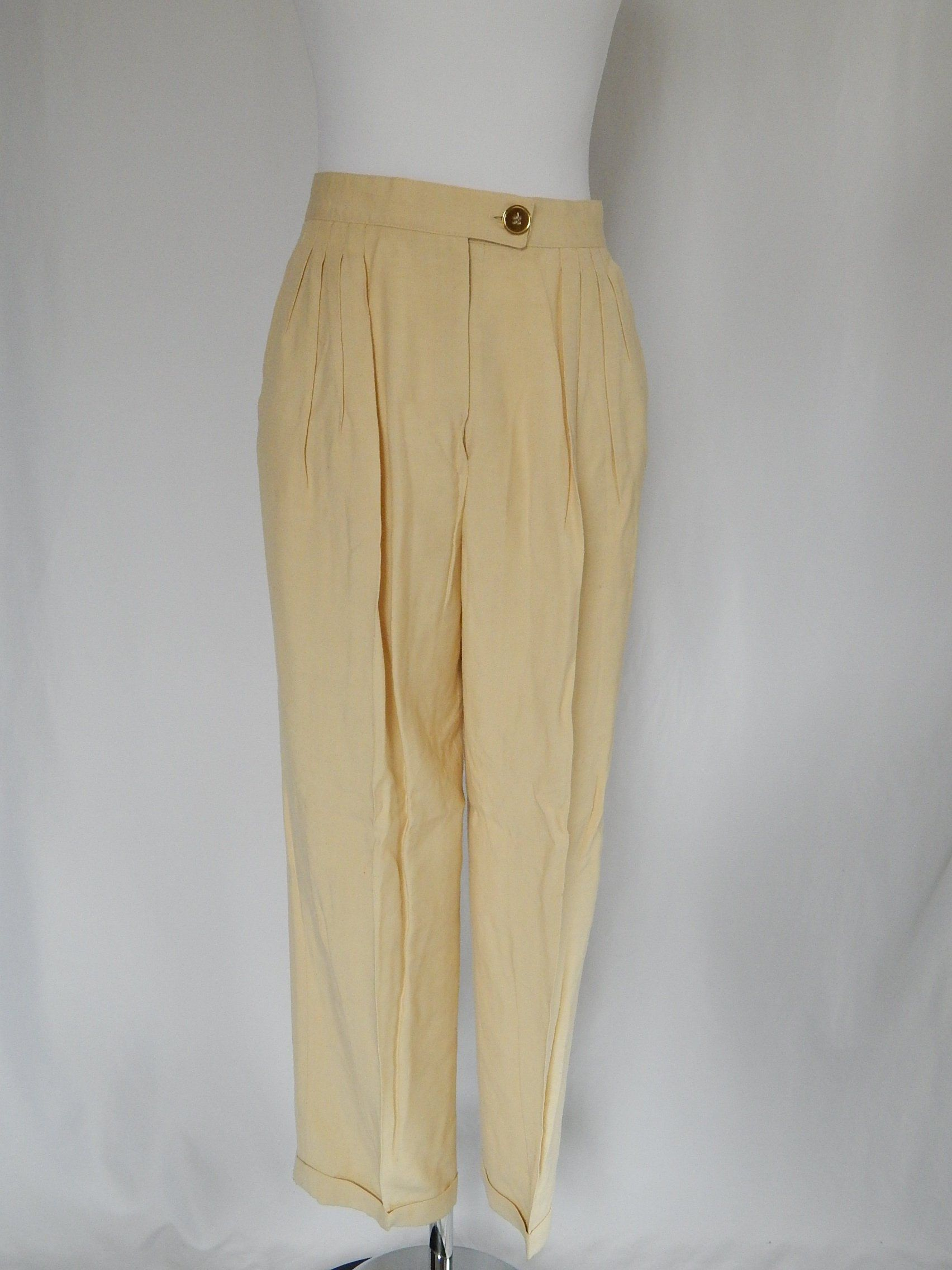 7624282cb682 Vintage Christian Dior Pants Trousers Small S Vintage 10 High Waisted Silk  Pleated Pale Butter Yellow