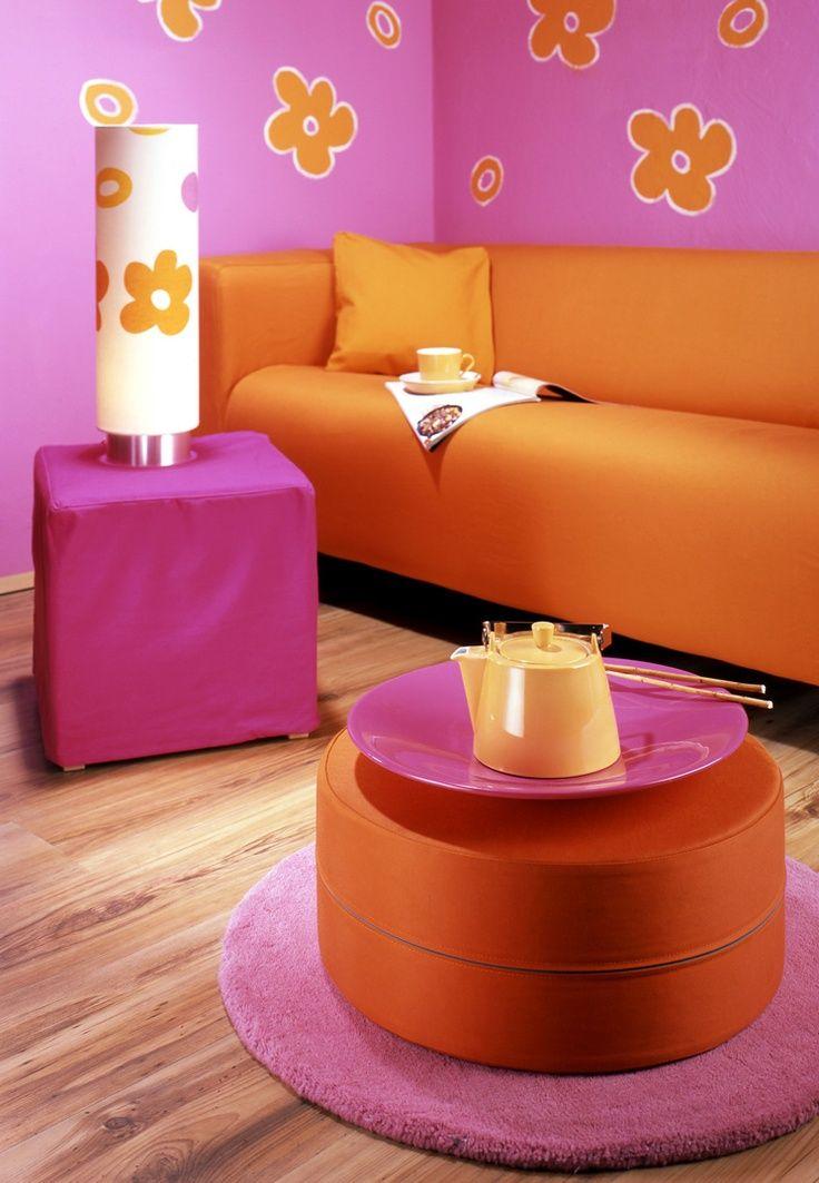 Pink & Orange in 2019 Orange schlafzimmer