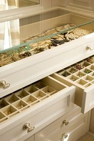 Upcycle an old dresser into a great jewelry case: remove wood top, replace with glass, add some organizational containers to the drawers and maybe even add a little paint!
