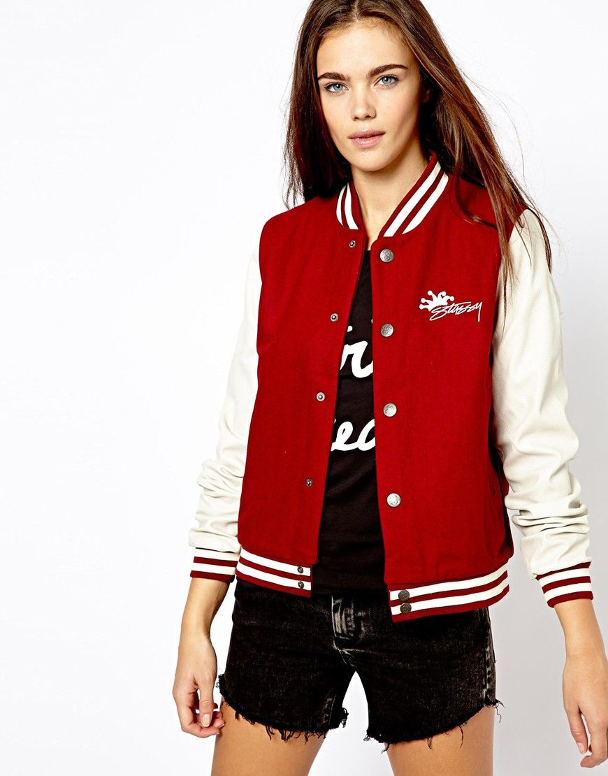 Pull&Bear Baseball Jacket With Leather Look Sleeve http ...