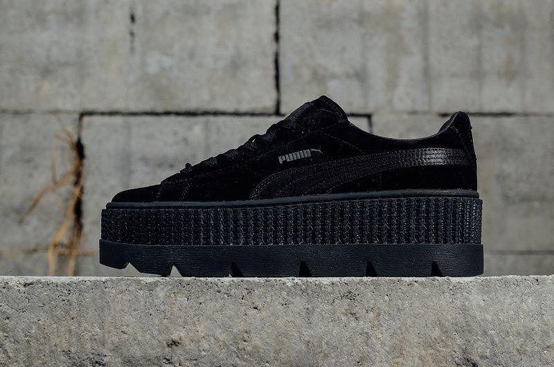 54e80ba9e60f13 Chaussures de mode Puma X Fenty Cleated Creeper Suede Puma Black Noir  Womens Fashion Shoes Sneakers 366268-04 Youth Big Boys Shoes