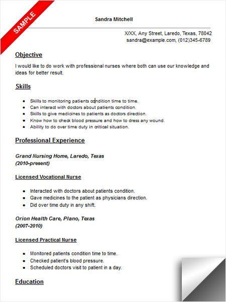 Licensed Vocational Nurse Lvn Resume Sample Resume Objective Examples Nursing Resume Lpn Resume