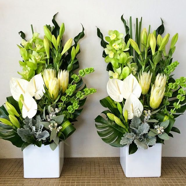 Church Altars Modern Flower Arrangement: Lime And White Flowers For Church Event In Baulkham Hills