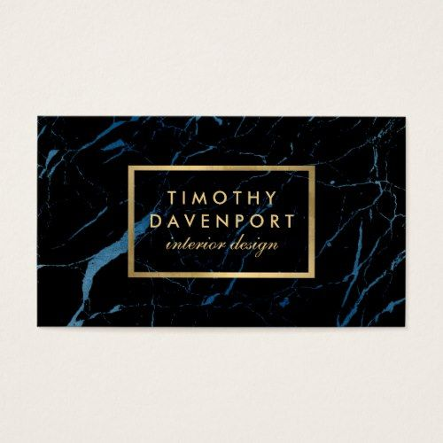 Black And Blue Marble With Faux Gold Text Designer Business Card Business Card Design Name Card Design Decorator Business Card