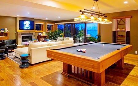 Modern Living Room Design With Billiard Pool Table  Private Home Custom Pool Table Living Room Design Design Decoration