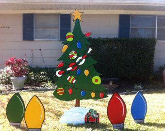 Christmas Light Bulbs Christmas Tree Holiday Wooden Yard Art Personalized Christmas Yard Art Christmas Yard Decorations Christmas Lights