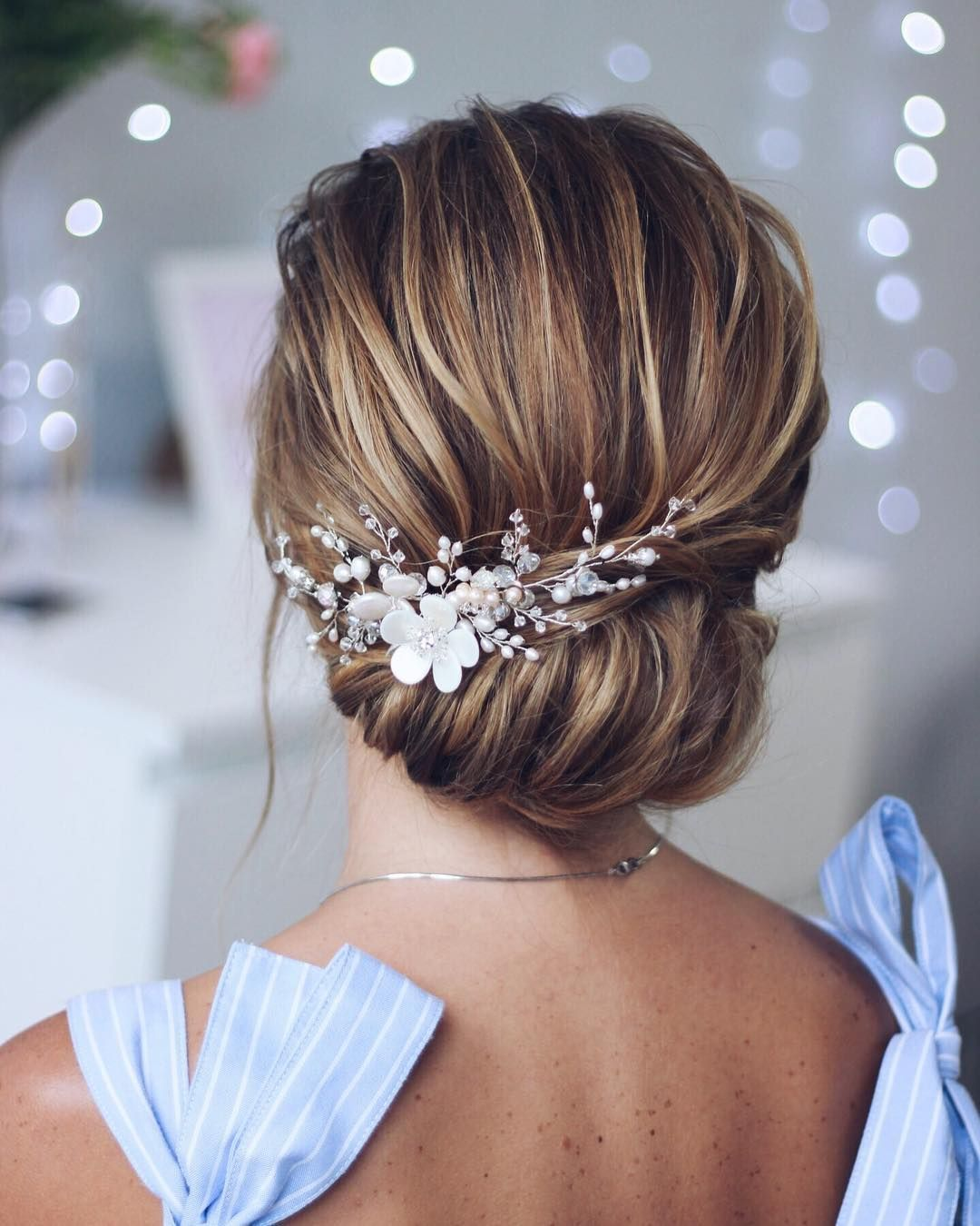 Simple beautiful bridal updo chignon wedding updo hairstyles