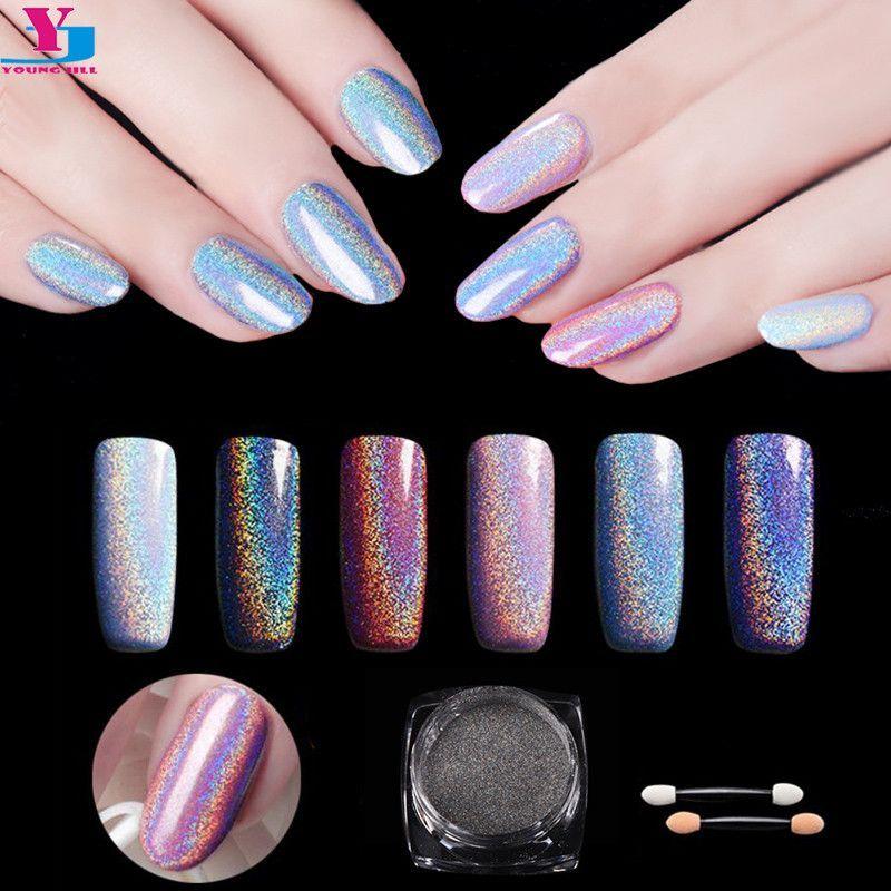 New Top Quality 1g/Box Nail Art Glitter Fine Laser Rainbow Pigment ...