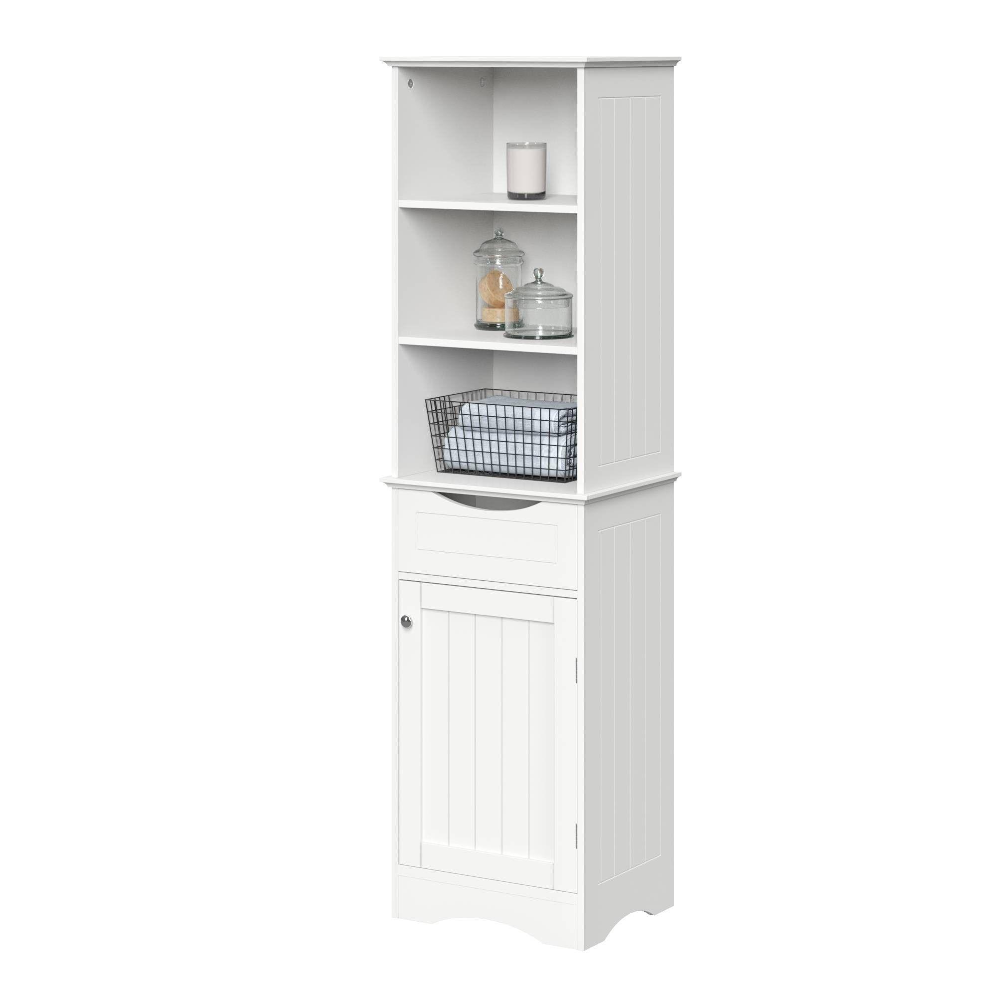 Single Door Beadboard Linen Cabinet White Bathroom Furniture