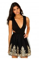 Klementina Cut Out Embroidered Puffball Dress