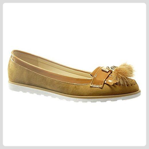 3177331aa5d62f Damen Schuhe Mokassin - Slip-On - Fransen - Bommel - Patent Keilabsatz 1.5  cm