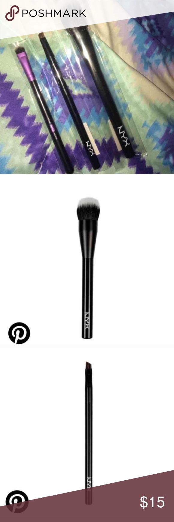 Brush bundle 1 NYX Pro Dual Fiber foundation brush ($19), 1 NYX Pro Angled Brush ($9) and 1 Vera Mona small blending brush($9). New in package. No trades Makeup Brushes & Tools