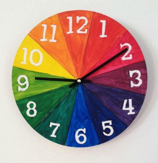 Color Wheel For Kids Make A Cool Clock Reloj Para Ninos Sala De Arte Circulo Cromatico Para Ninos