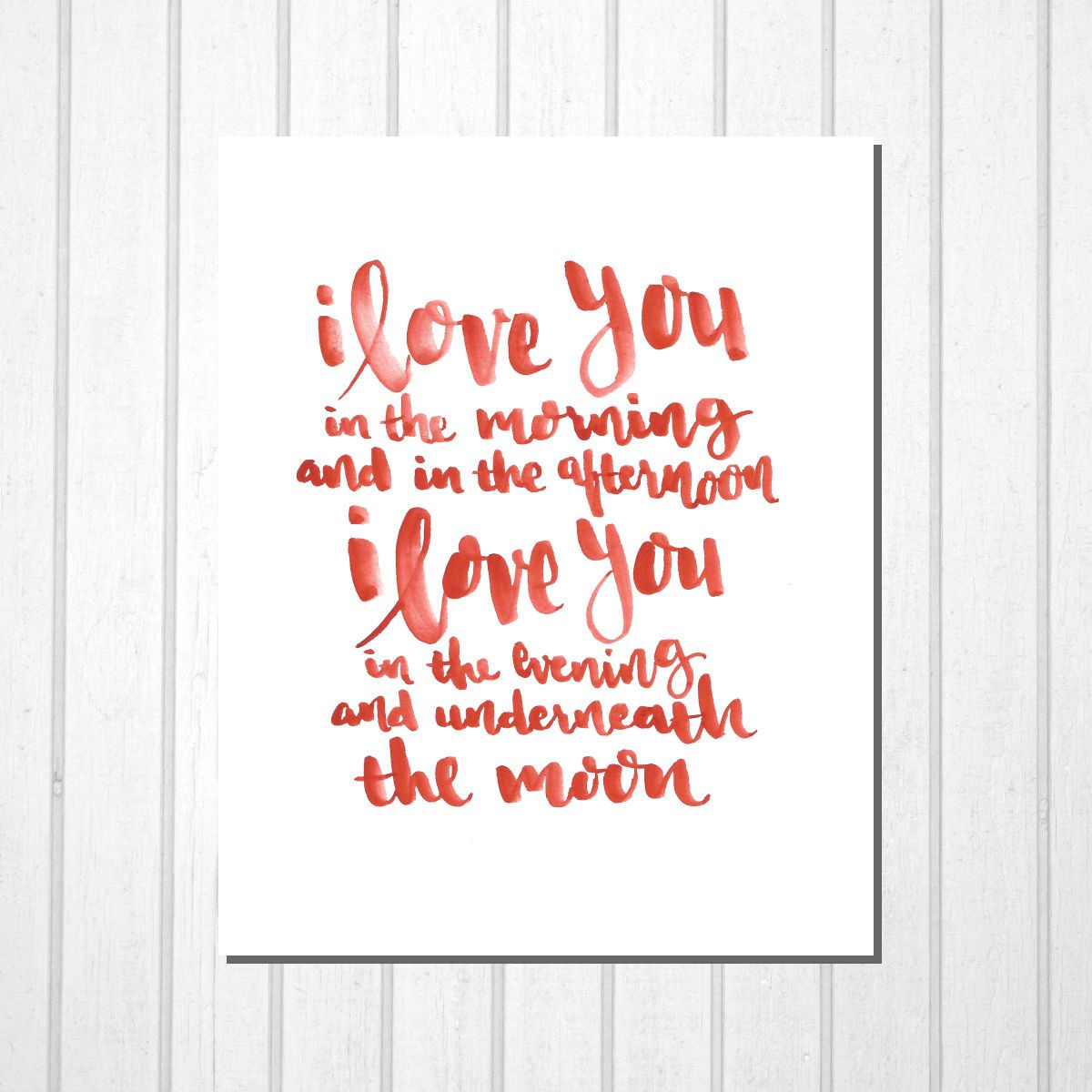Printable Room Decor Skidamarink Print I Love You Hand Lettering Typography Modern