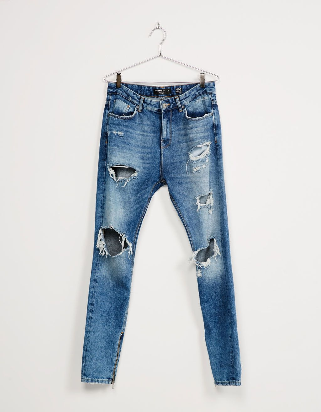 d81672f46aa Ripped slim fit zipper jeans | My Style | Jeans, Mens skinny ripped ...