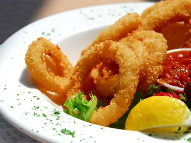 A 5-star recipe for Deep Fried Squid Rings (Calamari) made with squid, flour,  salt, black pepper, eggs, milk, brea… | Food for digestion, Food, Mexican  food recipes