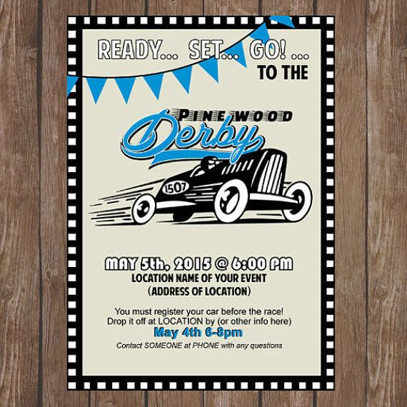 Pinewood Derby Cub Scout Invitation, PRINTABLE 5\