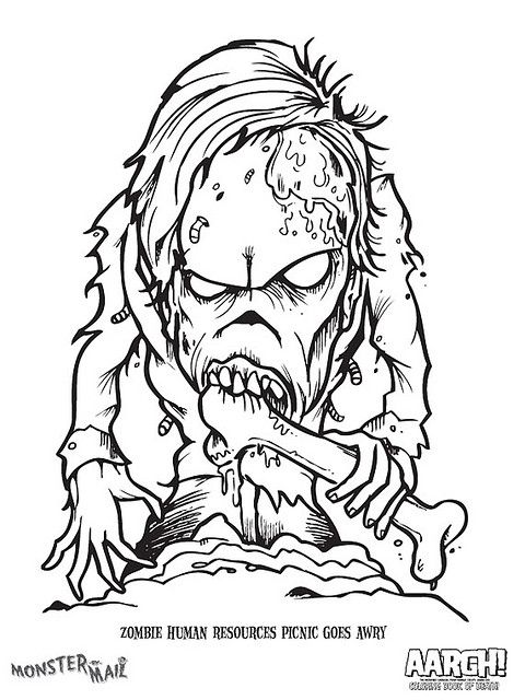 Monster By Mail Coloring Page - Zombie | Halloween ideen, Halloween ...