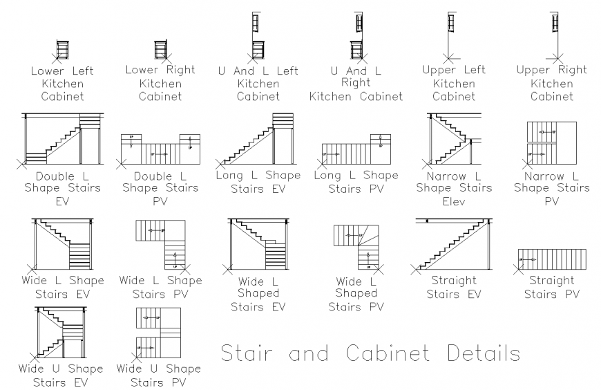 Different Type Staircase Detail Plan And Section Drawing In Dwg File